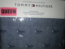 Tommy Hilfiger QUEEN Sheet Set Easy Care Foxes Blue White NEW NIP