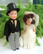 CUTE 1940'S 50'S BRIDE & GROOM WEDDING CAKE TOPPERS FUNNY LOOK IN THEIR EYES