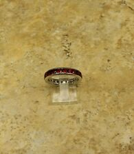 STERLING SILVER GARNET CHANNEL SET SILK FIT ETERNITY BAND SIZE 9 QVC SOLDOUT