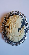 Stunning Victorian Lady Cameo Brooch Medieval Pin Pagan Wedding Goth