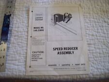Owners Manual for Sears Craftsman Model #149.23895 Speed Reducer Assembly Lathe