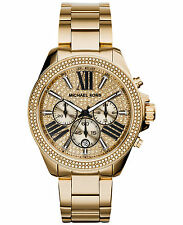 Michael Kors Wren MK6095 Gold Tone Crystal Glitz Chronograph Women Watch