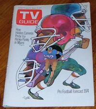 1974 NFL PRO FOOTBALL TV GUIDE COVER ONLY~ILLUSTRATION BY BOB PEAK~COVER ONLY