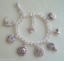 Pentagram 8 Sabbats Wheel of the Year Wiccan Charm Bracelet - Goddess Pagan