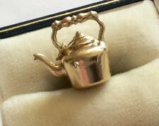 Lovely Vintage Full Hallmarked 9ct Gold Copper Kettle Charm Pendant