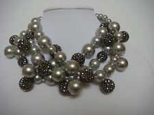 Kenneth Jay Lane Multi strand pearl cluster necklace silver tone crystals Balls