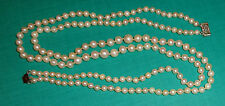 fine old graduated cultured white pearl double necklace 14K white gold clasp