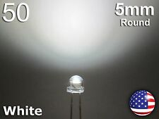50pcs 5mm White Straw Hat LED - Wide Angle Water Clear Light Emitting Diode