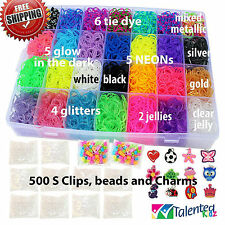 Rainbow Loom Rubber Bands Refill 11000pc Bracelet Kit Storage Case Organizer New