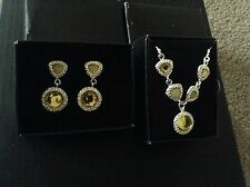 2 Pc New Avon Legacy Riches Silvertone Yellow Necklace & Earrings gift set boxed