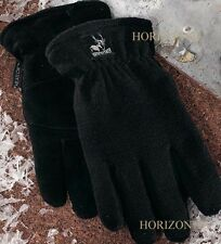 THERMAL Heat-Lock Insulated-Deer Leather Heatlok Gloves-Black-Mens-Small-Size 8