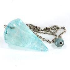 Quartz Gemstone Crystal Pendulum (EA5737M) Dyed Blue Healing Reiki Dowsing