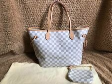 AUTHENTIC LOUIS VUITTON DAMIER AZUR NEVERFULL MM With Small Pouch Purse Bag