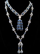 """Vintage Faux Pearl Tassel Necklace 32"""" & 35"""" Long Flapper Woven Beads Lot Of 2"""