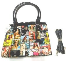 Magazine Cover Style Collage Tote Shoulder Handbag Purse