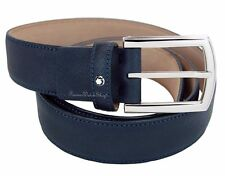NEW Mont Blanc Classic Line 109751 Navy Blue Saffiano Print Men's Leather Belt