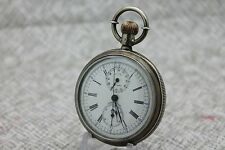 Antique CENTENNIAL Chronograph 0.900 Fine Silver Horse Scene Pocket Watch