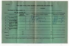 1944 NEW YORK NEW HAVEN HARTFORD RAILWAY Boston Division EXAM CERTIFICATE Train