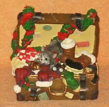 """Nice unmarked working """"Kitty Cat in a Suitcase"""" Christmas themed music box."""