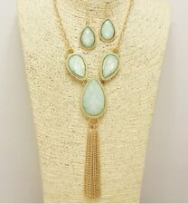 Gold and Light Green Faux Opal Tassel Necklace Set