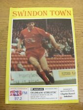 12/03/1991 Swindon Town v Oldham Athletic  . Item appears to be in good conditio