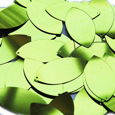 Lime Green Metallic Navette Leaf Sequins 1.5 inch Couture Paillettes