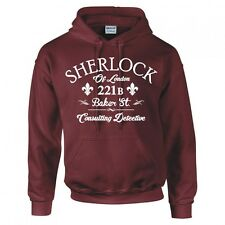 """SHERLOCK HOLMES 221B BAKER ST """"CONSULTING DETECTIVE"""" HOODIE NEW"""