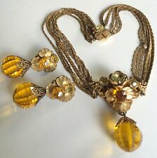 Vintage Miriam Haskell Necklace Earrings(Horseshoe Mark)Set~Crystal/RS/Filigree