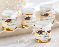 48 Meant to Bee Honey Jar Bridal Wedding Favors w/ Bow & Charm Personalized