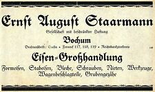 Ernst August Staarmann Bochum EISEN-GROSSHANDLUNG Historische Reklame 1925