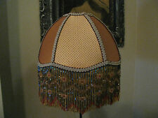 "Victorian French Medium Lamp Shade ""Golden""  Beads 6"" Fringe UNO Available Look!"