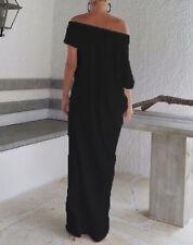 UK Women Boho Beach Short Sleeve Evening Loose Long Maxi Summer Sundress Dresses