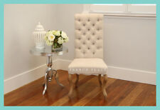 In stock French Provincial Hamptons Style Buttoned Beige Linen Oak Dining Chair