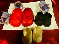 lot 3pai chaussures poupées bella ,raynal ,gégé , poupon celluloid    des ans 60