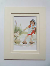 VINTAGE MARGARET TARRANT PRINT MARY HAD A LITTLE LAMB c1920  7x9in DOUBLE MOUNT
