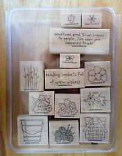 2006 Stampin Up BASKET FULL OF FUN 13pc RUBBER INK STAMP SET Pail Yarn Apples