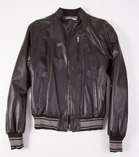 NWT D'ARIENZO Brown Nappa Leather Moto Jacket L (Eu 54) Baseball Cuffs Italy