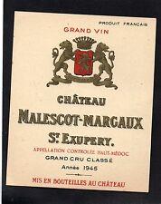 MARGAUX 3E GCC VIEILLE ETIQUETTE CHATEAU MALESCOT ST EXUPERY 1945 RARE  §19/12§