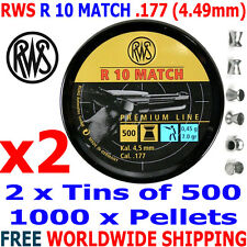 RWS R 10 MATCH .177 4.49mm Airgun Pellets 2 (tins)x500pcs (10m PISTOL) 0,45g