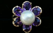Vintage 14k Gold Pearl Amethyst Flower Ring Estate Jewelry 6.8 gm