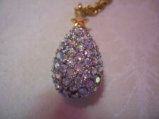 JOAN RIVERS Aurora Borealis Magic Crystal Egg Pendant With Gold-tone Chain 27""