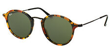 Ray-Ban RB 2447 1157 Spotted Black Havana Round Fleck Sunglasses Green Lens 49mm