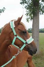 NEW Horse print fur padded headcollars halter + matching lead  MINT GREEN COB