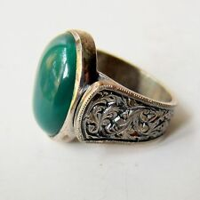 GREEN JADE 925 STERLING SILVER HAND CARVED ARTISAN  TURKISH MEN'S RING