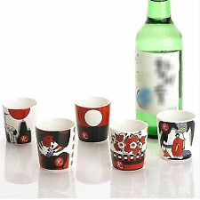 Drinking glass sets shot glasses for soju liquor Go-Stop drinking Ceramic cup 5p