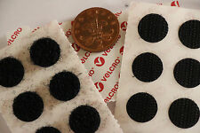 STICK ON 16mm Self Adhesive BLACK VELCRO® Hook & Loop Coins 16 Hook & 16 Loop