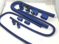 "48"" Blue Stainless Flexible Radiator & Heater Hose Kit W/ Billet Clamp Covers"