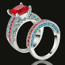 Red Ruby 5.0ct Princes Cut CZ Wedding Ring Set Band 10KT white Gold Filled SZ 7