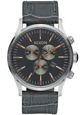 NEW Nixon Sentry Chrono Leather Gray Gator | FULL FACTORY WARRANTY