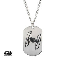 OFFICIAL STAR WARS TIE FIGHTER DOG TAG PENDANT ON CHAIN NECKLACE (NEW)